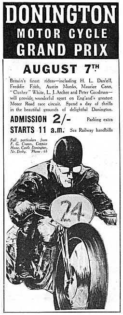 Donington Park Motor Cycle Racing August 7th 1939