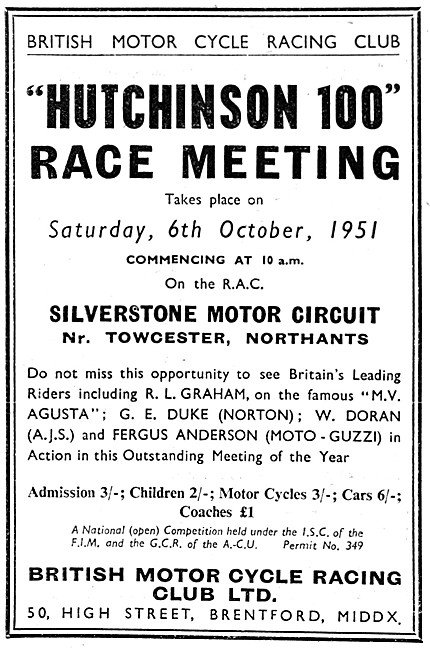 Hutchinson 100 Motorcycle Race Meeeting Silverstone October 1951