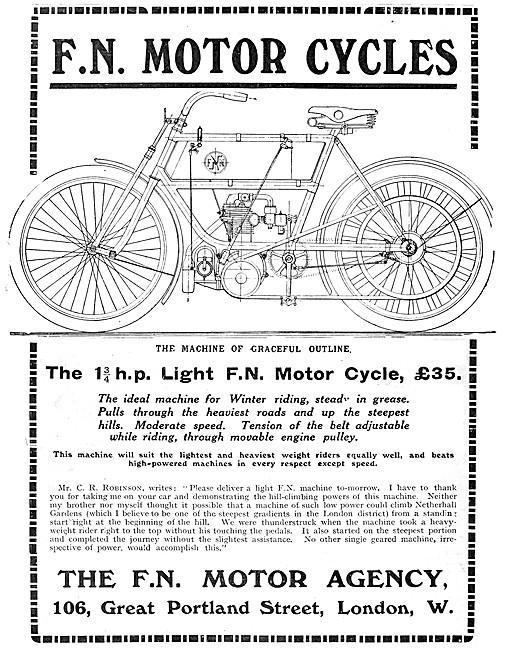 F.N.Motor Cycles - 1 3/4 hp Light F.N. Motor Cycle 1907