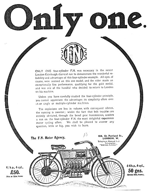 F.N.Motor Cycles - 1908 FN Four Cylinder Motor Cycle