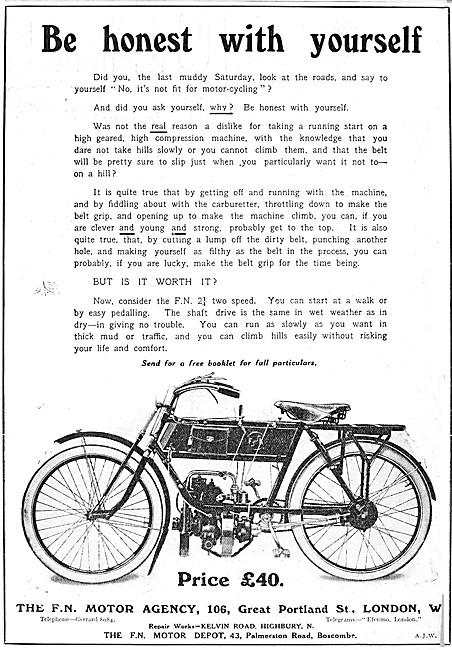 F.N. 2 1/4 2 Speed Motor Cycle