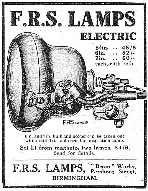 FRS Motorcycle Lamps - FRS Electric  Motor Cycle Lighting Sets
