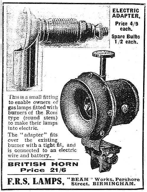 1918 FRS Electrical Equipment - F.R.S.Horn