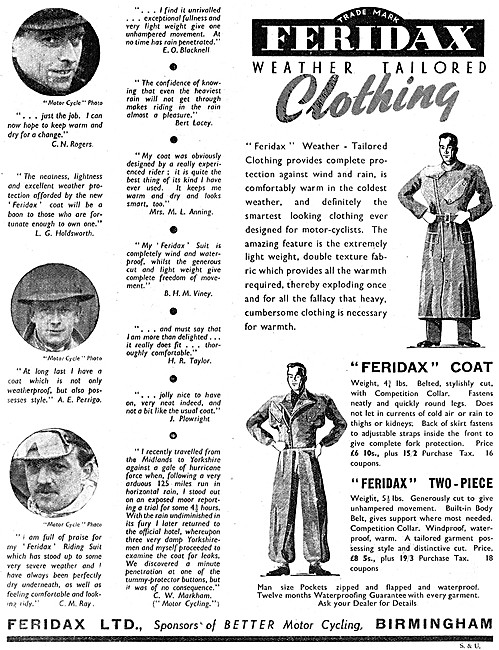 Feridax Weather Clothing For Motor Cyclists