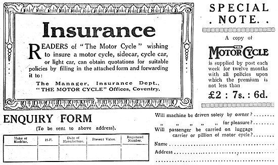 'The Motor Cycle' Insurance Policy