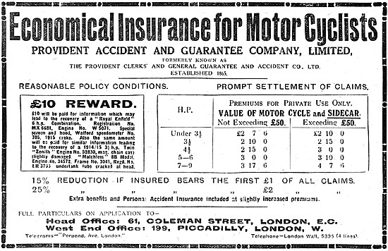 Provident Motor Cycle Insurance 1918