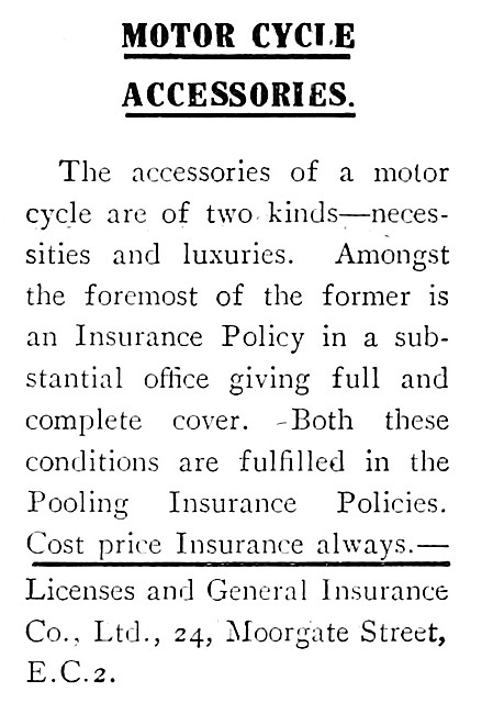 Licenses & General Motor Cycle Accessories Insurance Policies