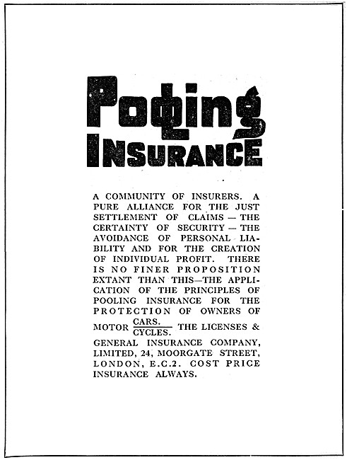 Licenses & General Motor Cycle Insurance Policies 1919