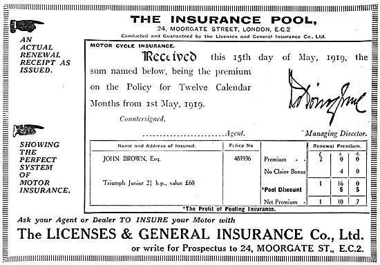 Licenses & General Motorcycle Insurance Policy Advert 1919