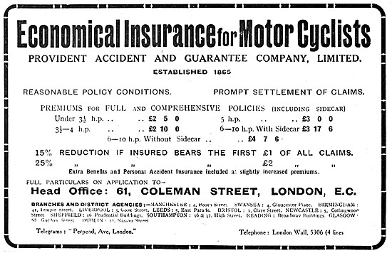 Provident Accident Motor Cycle Insurance 1919