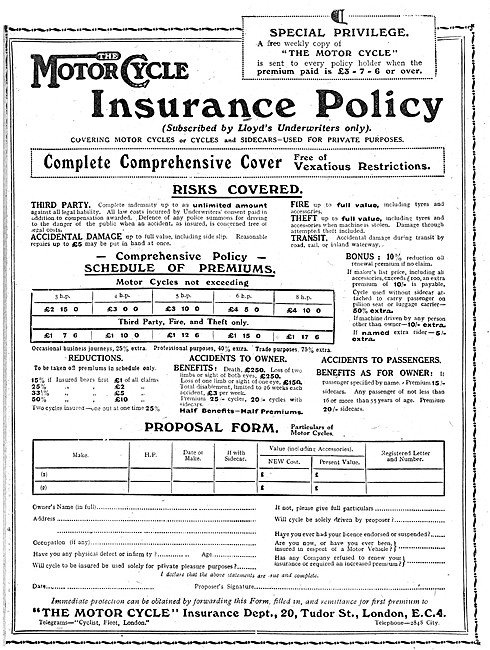 The Motor Cycle Insurance Department