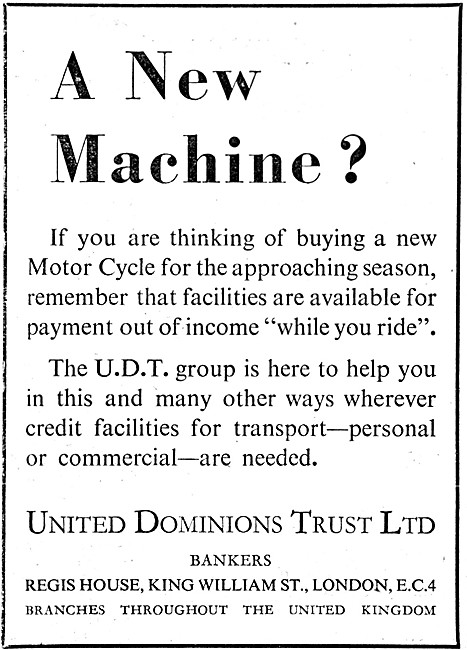 United Dominions Trust. Finance. UDT Personal Credit Facilities