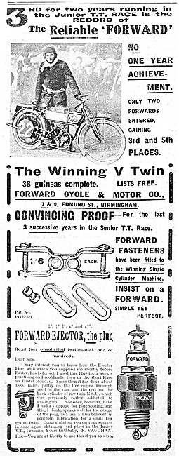 Forward Motor Cycles & Accessoriesn 1912 Advert