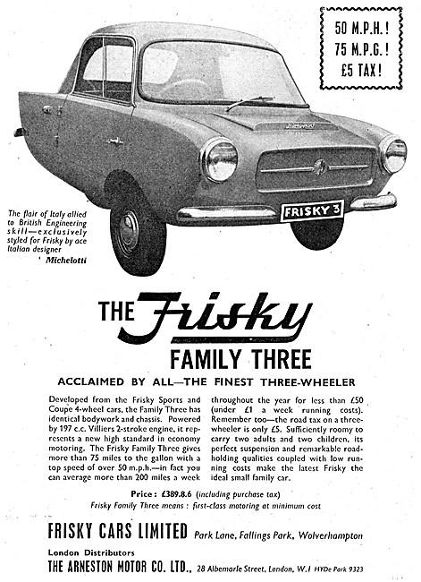 Frisky Family Three Microcar - Frisky Three Wheelers