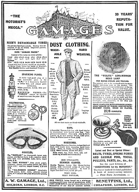 Gamages Motor Cycles & Accessories - Gamages & Benetfink