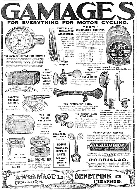 Gamages Motor Cycle Accessories 1909