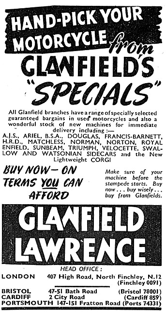 Glanfield Lawrence Motor Cycle, Moped ,Scooter & 3 Wheeler Sales
