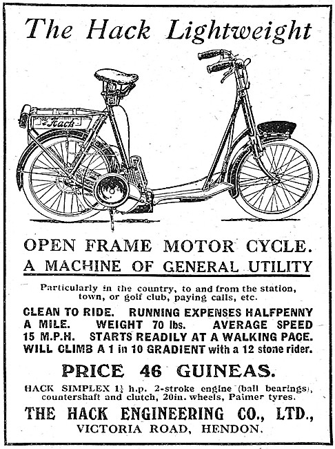 Hack Motor Cycles - Hack Open Frame Lightweight Motor Cycle 1921