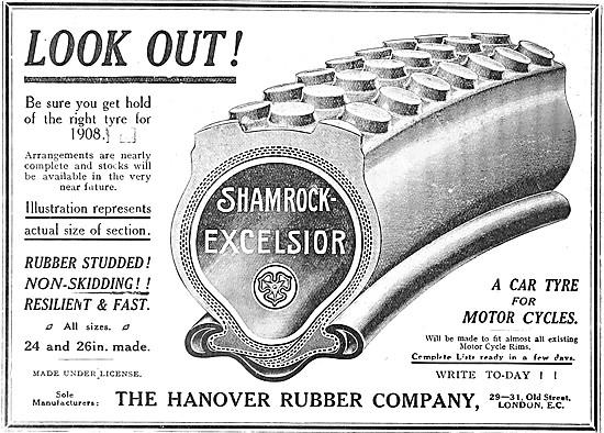 Hanover Rubber. Shamrock-Excelsior Tyres