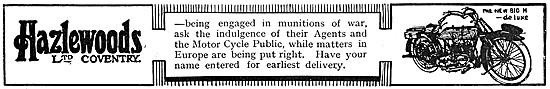1916 Hazlewoods Big H De Luxe Motor Cycle