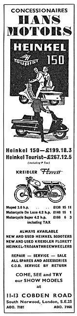 Heinkel Tourist Motor Scooter - Kreidler Florett Moped
