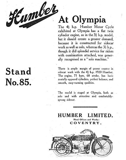 1919 4.5 hp Humber Motor Cycle