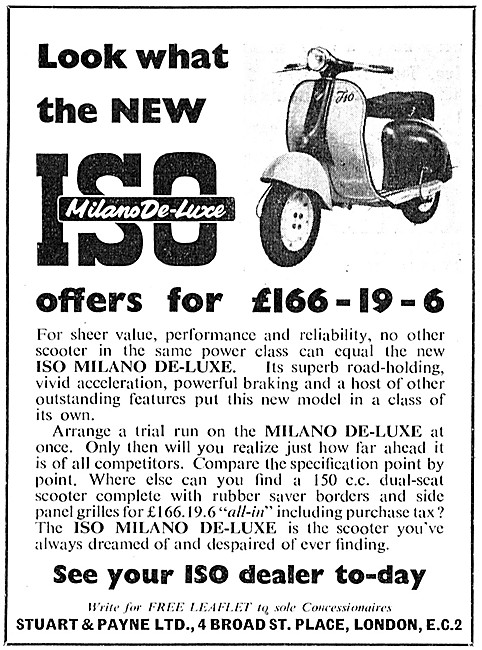 Iso Motor Scooters - ISO Milano De-Luxe Motor Scooter