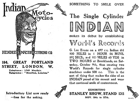 Indian 497 cc Motor Cycle World's Records 1909