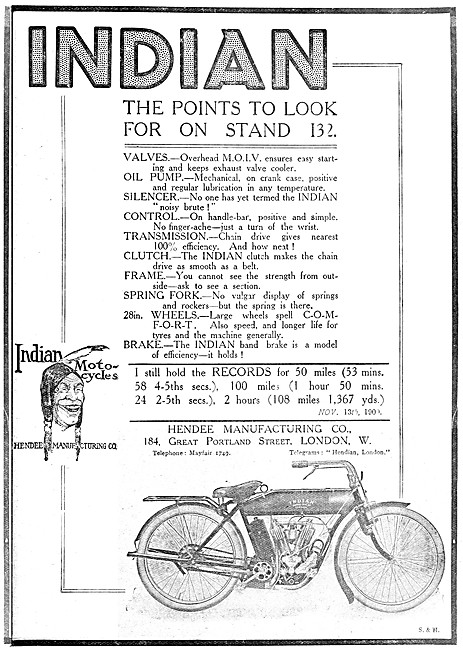 1909 Indian Motor Cycle Features
