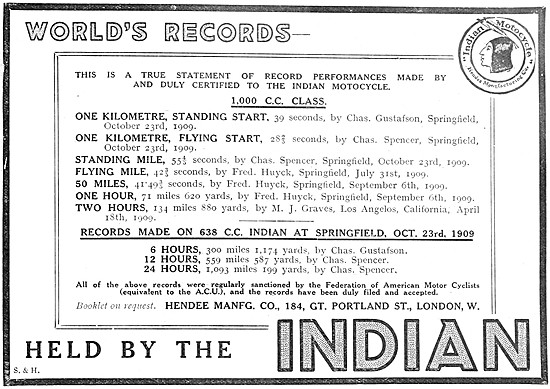 Indian Motor Cycles Records