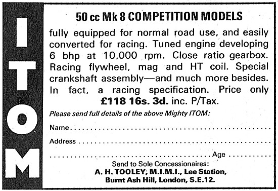 Itom Mk 8 50 cc Competition Models - A.H.Tooley