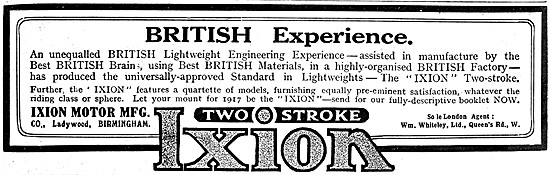 Ixion Two Stroke Motor Cycles 1916