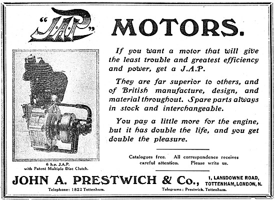 J.A.P. Motor Cycle Engines - 1907 JAP 6 hp Engine