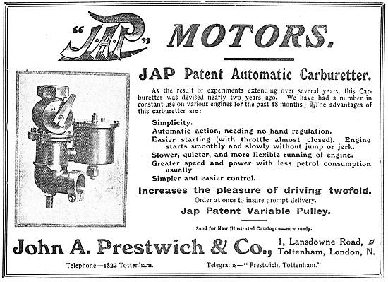 1908 J.A.P. Automatic Carburetter