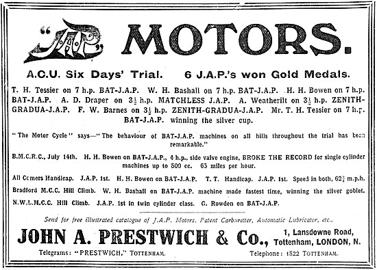 J.A.P. Motor Cycle Engines - JAP Engines 1909 Successes