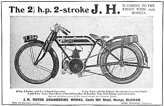 1914 JH 2 1/2 hp Two-Stroke Motor Cycle