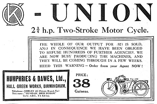 Union 2.75 hp Two-Stroke Motor Cycle