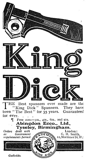 King Dick Adjustable Spanners 1918