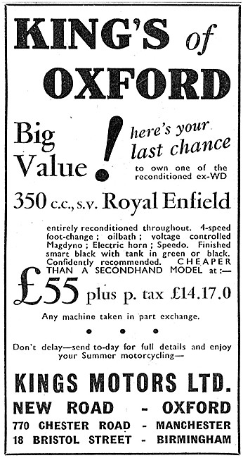 Kings Motorcycle Sales - Ex WD 350 cc Side Valve Royal Enfields