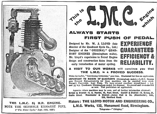 L.M.C. Motor Cycle Engines - The L.M.C 3.5 hp Engine