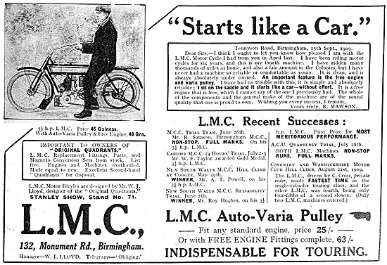 L.M.C. 3 1/2 hp Motor Cycle With Auto-Varia Pulley