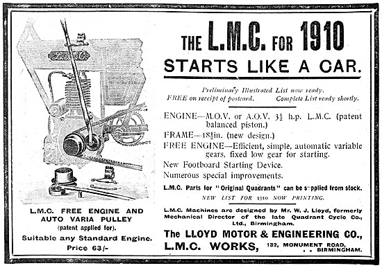L.M.C. Motor Cycle With Free Engine & Auto Varia Pulley