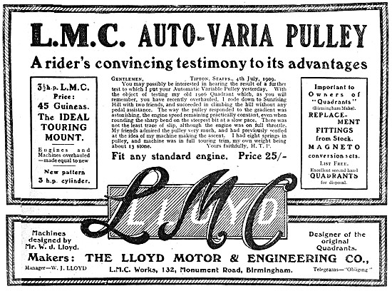 L.M.C. Auto-Varia Motor Cycle Pulley