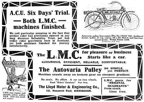 L.M.C. Motor Cycles - LMC 3 1/2 hp With Autovaria Pulley
