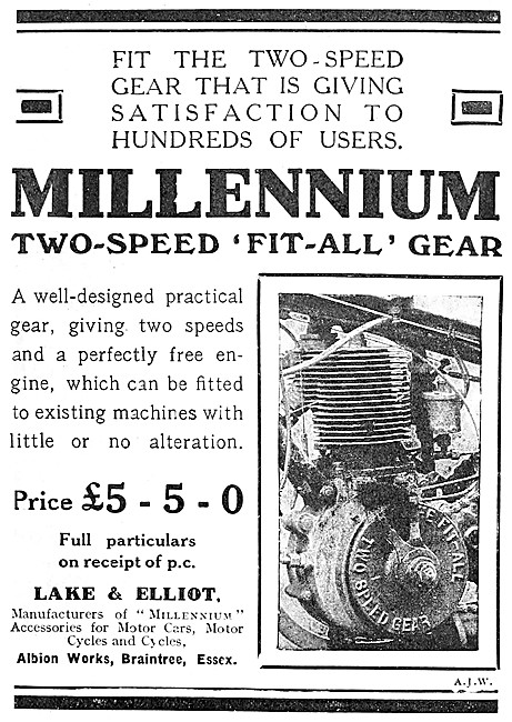 Lake & Elliot Two-Speed Fit-All Motor Cycle Gear 1909