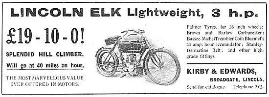 Lincoln Elk Motor Cycles -  1908 3 hp Lincoln Elk Motor Cycle