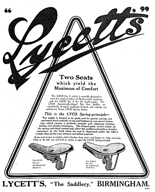 Lycett Lyco Motor Cycle Seat 1919