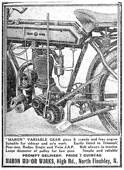 Mabon Variable Gear For Motor Cycles - Mabon Belt In Tension Gear