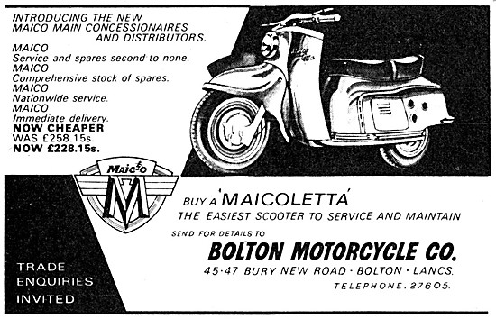 Maico Motor Scooters - Maicoletta Scooters - Bolton Motorcycle Co