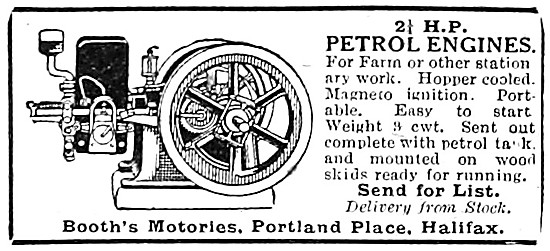 Booths Motories 2.5 hp Stationary Petrol Engines 1919
